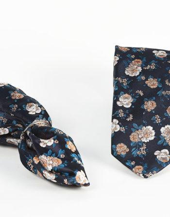 Maennersache Lübeck Auerbach Einstecktuch Krawatte blau mit gelben Blumen